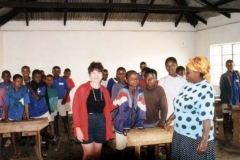 One of the classes and teachers share information with Dr. Radd in a local school in Tanzania, Africa.