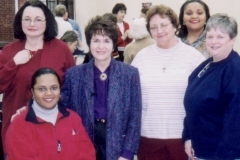 Dr. Radd with Coordinator, Deanna Clapsaddle, and counselors at a training workshop. She presented Developmental Guidance, Counseling and Education for the New Millennium, for counselors in the Fort Bend Independent School District, Sugar Land, Texas. February 2003.