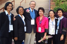 Dr. Radd and Dr. William Purkey with the group from Thailand at the Invitational Leadership Conference in Hong Kong, China, where she presented Building a Bridge to Your Inviting School. September 2005.