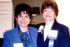 Nebraska Municipal Schools Clerks. 1999. Dr. Radd with Dr. Alice Schumaker, UNO Professor Colleague and Coordinator Director of Clerks School.