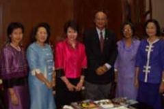 Dr. Radd being welcomed to Ramkhamhaeng University in Bangkok, Thailand, by the president of the university along with other Ramkhamhaeng professors.