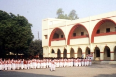 Students gather for morning announcements outside St. Anthony's School, Agra, India.