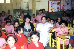 Dr. Radd visiting a classroom at St. Anthony's School, Agra, India.