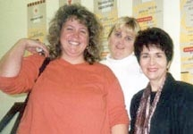 Dr. Radd and Principal, Donna Gilcher, with new staff member at training workshop at Elyria Alternative Middle School. Her workshop was Guidance and Education for the New Millennium: A Guidance System Approach. Elyria, Ohio. October 2001.